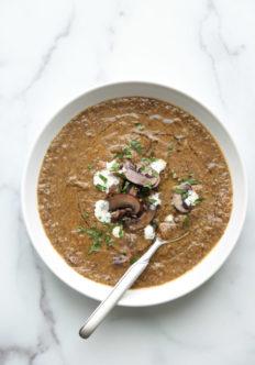 vegan cream of mushroom soup in a bowl