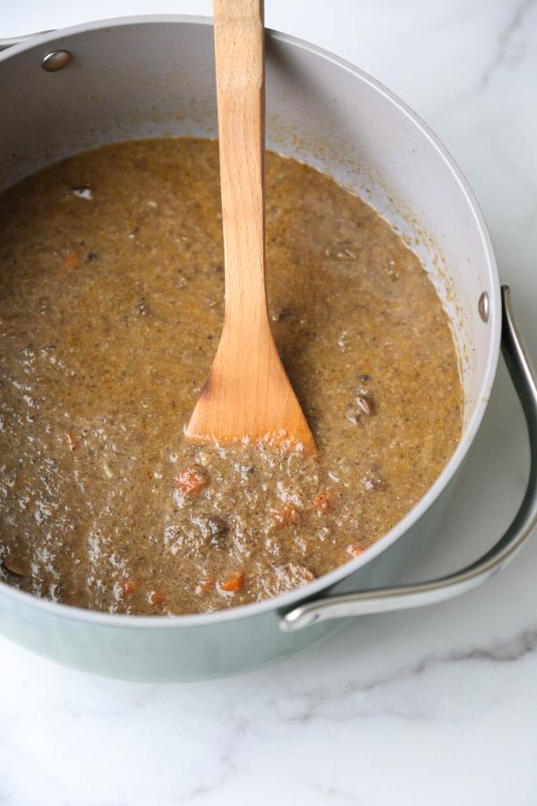 vegan cream of mushroom soup in a pot