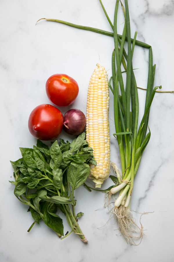 tomatoes, corn, basil and scallions