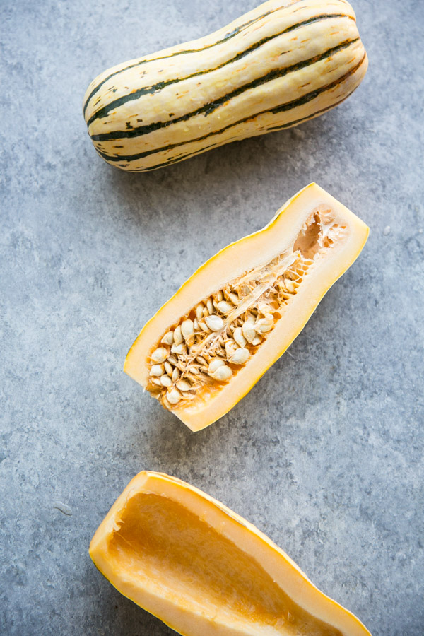delicata squash cut seeds