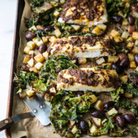 Baked Halibut with Caper-Tomato Tapenade, Potatoes and Kale (Low FODMAP & Paleo)