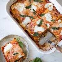 Eggplant-Kale Caponata Lasagna (Gluten-Free, Low FODMAP)