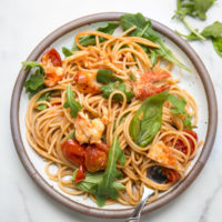 Spicy Lobster Pasta with Arugula and Cherry Tomatoes