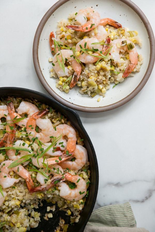 shrimp and rice casserole ina skillet